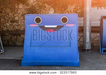 Funny Trash Can For Plastic. Differentiated Garbage Collection