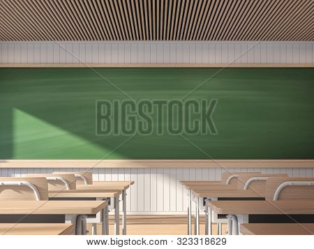 Modern Contemporary Classroom With Empty Blackboard 3d Render,the Classroom Has White Walls And Wood