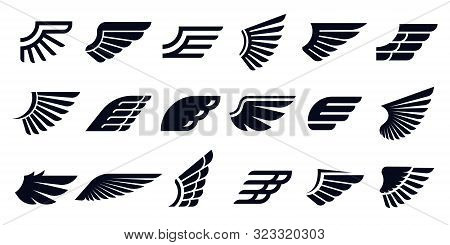 Silhouette Wing Icons. Bird Wings, Fast Eagle Emblem And Decorative Ornament Angel Wing Stencil. Bla