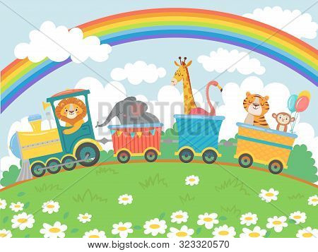 Cartoon Animals Travel. Zoo Train, Cute Animal Trains Journey And Funny Pets Traveling On Locomotive