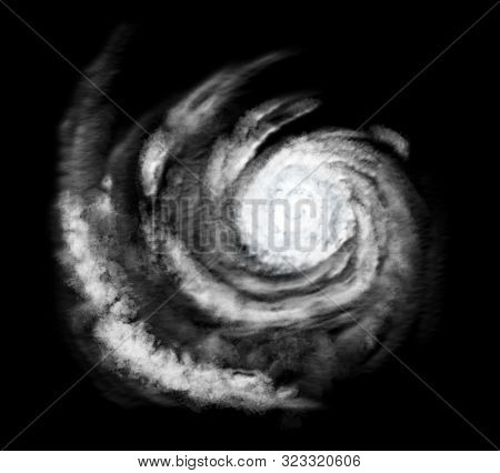 Weather Illustration. Hurricane Warning. Tropical Storm. Hurricane Template With Black Background.