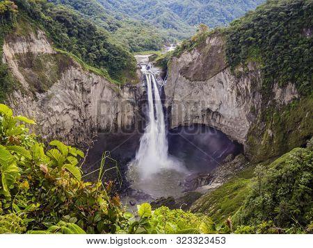 Majestic San Rafael Waterfalls In The Lush Rainforest Of Ecuadorian Amazon