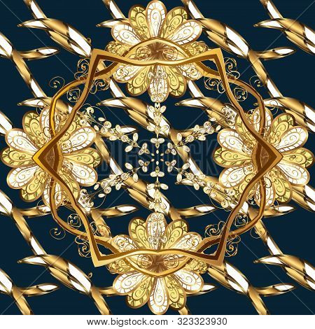 Seamless Golden Pattern. Gold Metal With Floral Pattern. Vector Golden Floral Ornament Brocade Texti