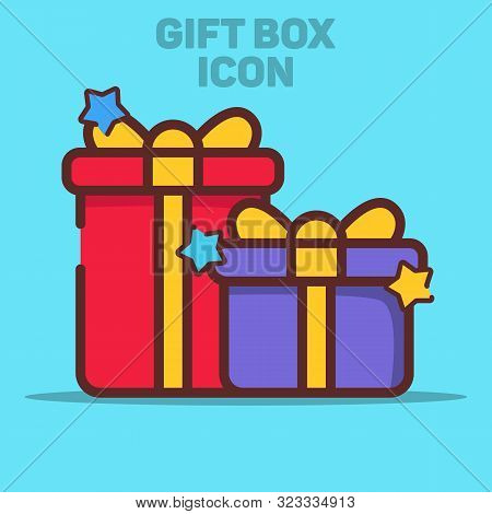 Isolated Gift Box Icon Vector Illustration With Blue Background