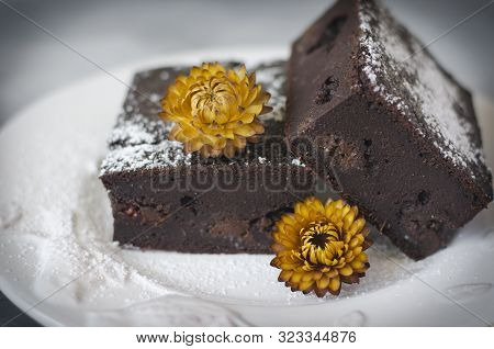Brownies On Applesauce And Spelled Flour With Flowers