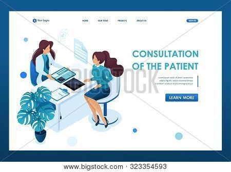 Young Woman Doctor Advises The Patient. Health Care Concept. 3d Isometric. Landing Page Concepts And