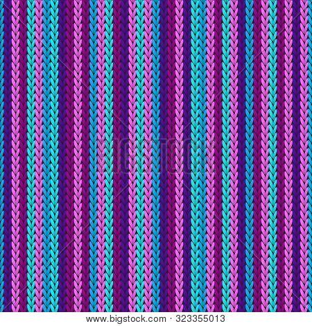 Macro Vertical Stripes Christmas Knit Geometric Vector Seamless. Pullover Knitting Pattern Imitation