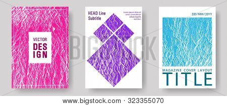Flyer Poster Vector Graphic Design Set. Teal Pink Purple Waves Texture Backdrops. Buzzing Flux Rippl