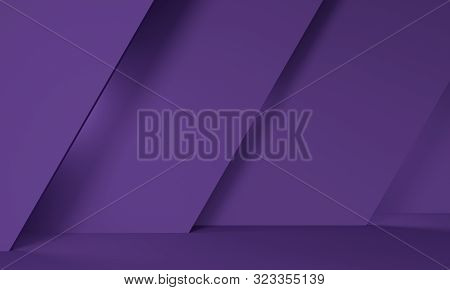 Geometric Purple Abstract Background With An Inclined Wall. Backdrop Design For Product Promotion. 3