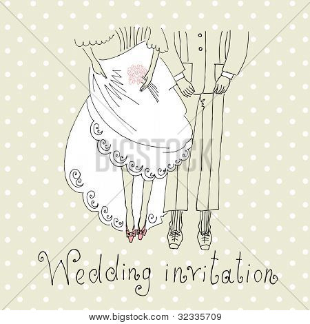 Bride and Groom. Cute Wedding Background with legs of the groom and the bride