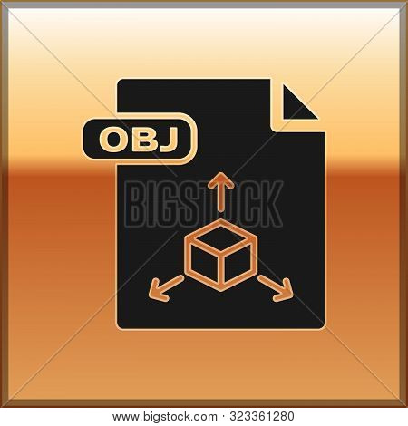 Black Obj File Document. Download Obj Button Icon Isolated On Gold Background. Obj File Symbol. Vect