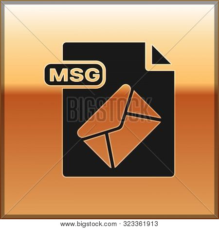 Black Msg File Document. Download Msg Button Icon Isolated On Gold Background. Msg File Symbol. Vect