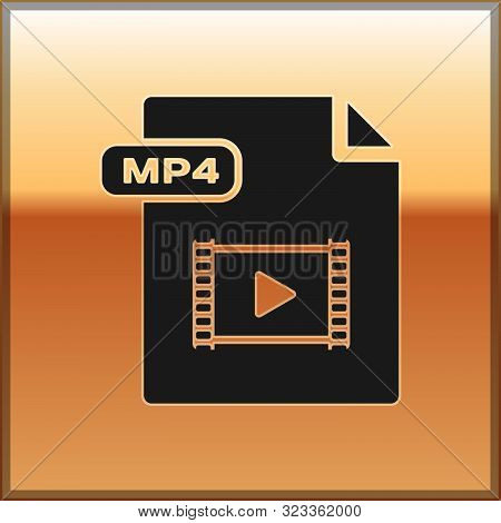 Black Mp4 File Document. Download Mp4 Button Icon Isolated On Gold Background. Mp4 File Symbol. Vect