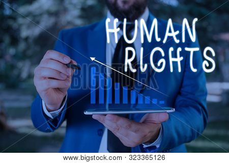 Word writing text Huanalysis Rights. Business concept for Moral Principles Standards Norms of a showing protected by Law Male human wear formal work suit presenting presentation using smart device. poster