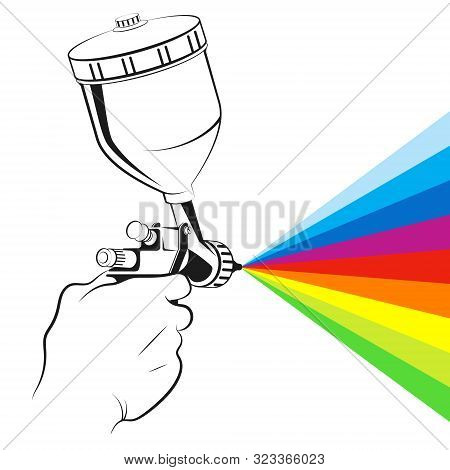 Spray Gun In Hand And Color Paint