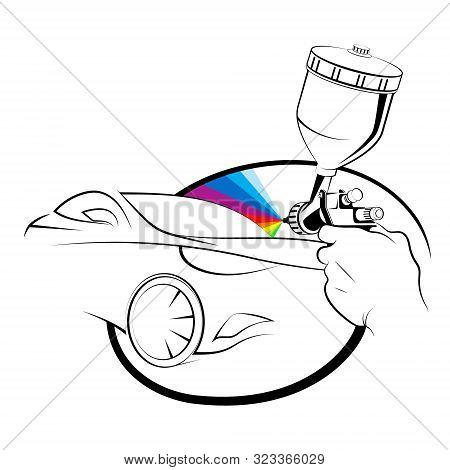Spray Gun In Hand Painting A Car