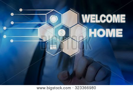 Word writing text Welcome Home. Business concept for Expression Greetings New Owners Domicile Doormat Entry Woman wear formal work suit presenting presentation using smart device. poster