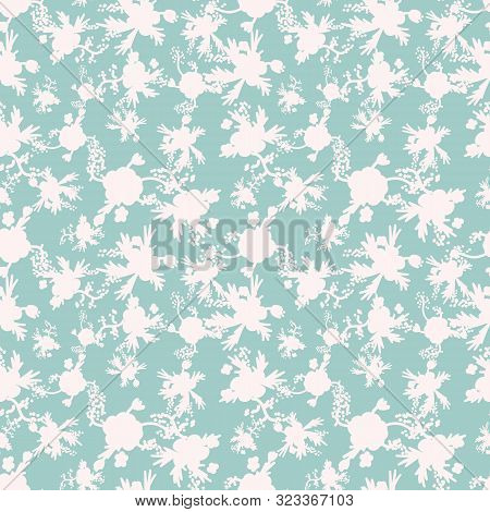 A Seamless Vector Pattern With White Floral Silhouettes On A Pale Teal Background. Surface Print Des
