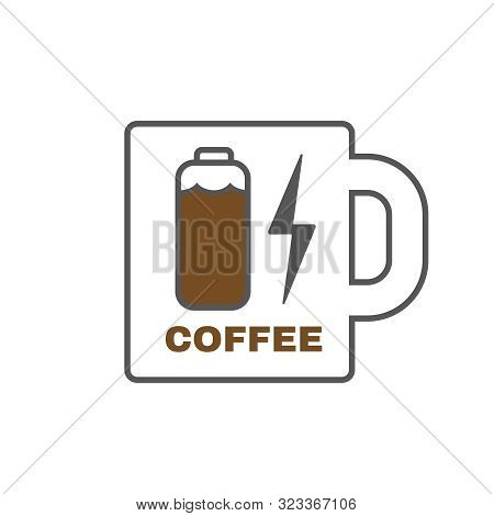 Energy Cup Of Coffee. Charger Power Bank. Coffee Battery. Vector Illustration.