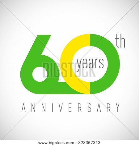 60 Th Anniversary Numbers. 60 Years Old Congrats, Colorful Logotype. Congratulation Idea. Isolated A