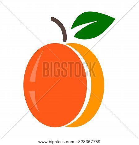 Peach Icon In Flat Design, Vector Art Illustration.