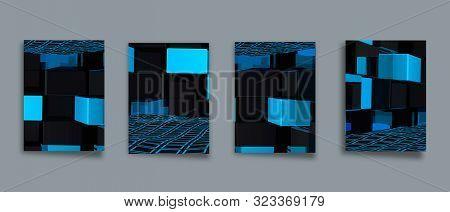 Minimal Geometric Posters Set. Trendy Design. Monochrome Patterns. Eps10 Vector.