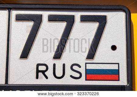 Russia Moscow 2019-06-17 Closeup For Code Of Region Of Russian Federation At Vehicle Registration Pl