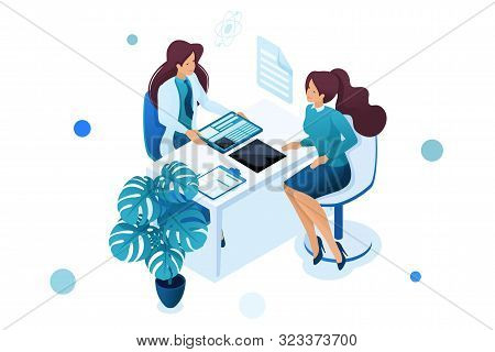 Young Woman Doctor Advises The Patient. Health Care Concept. 3d Isometric. Concept For Web Design.