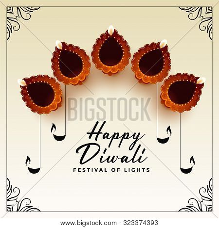 Beautiful Happy Diwali Diya Decoration Background Design