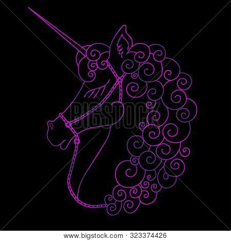 Portrait Of Cute Unicorn. Purple Fantasy Animal With Horn. Side View. Colorful Illustration In Carto