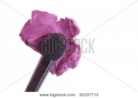 cream eyeshadow with brush isolated on white background