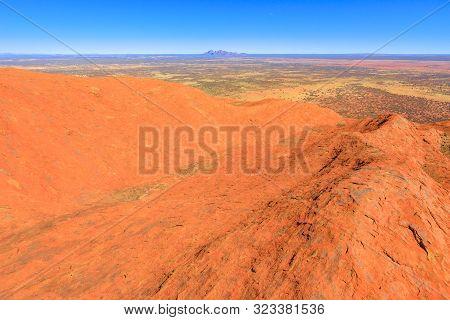 Uluru, Northern Territory, Australia - Aug 23, 2019: Panoramic View From The Top Of Uluru-kata Tjuta