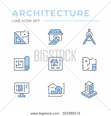 Set Line Icons Of Architectural Isolated On White. Blueprint, Architect Draft, Home Plan, Constructi