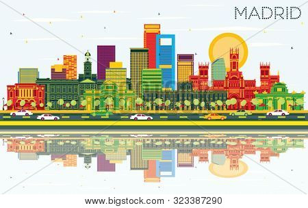 Madrid Spain City Skyline with Color Buildings, Blue Sky and Reflections. Business Travel and Tourism Concept with Historic Architecture. Madrid Cityscape with Landmarks.