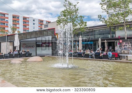 Wolfsburg, Germany - June 8, 2019: Water Fountain In City Centre Of Wolfsburg City.