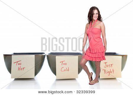 Woman And Porridge Bowls