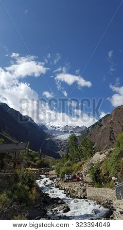 Rakaposhi - Majestic And Beautiful Mountain Peak Rakaphoshi, From Rakaposhi View Point With Blue Sky