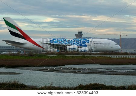 San Francisco, California, United States - Nov 27th, 2018: Emirates Airbus A380 Airliner With Blue E