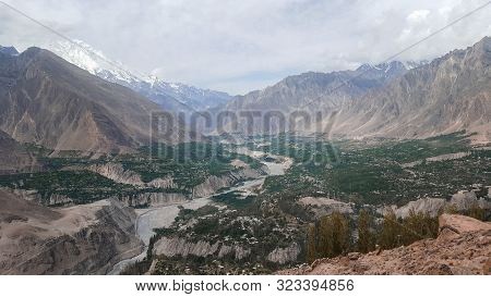 Beautiful View Of Hunza Valley With Cloudy Sky Before Sunset, In Summers, Gilgit Baltistan, Pakistan