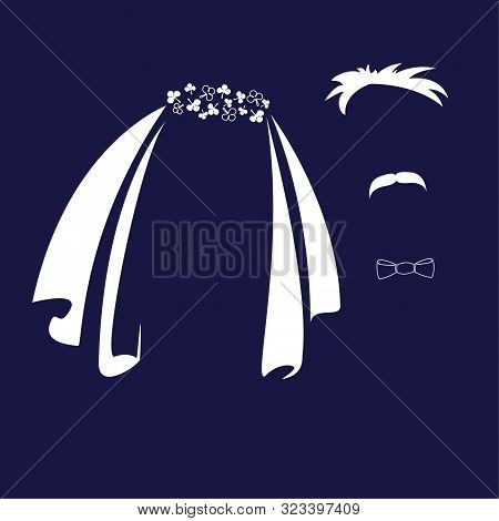 Bride And Groom. Veil, Bow Tie And Mustache As Symbols Of The Bride And Groom. Vector Icon.