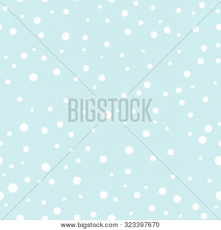 Winter Background With Snowfall. Blue Blurred Soft Wallpaper With Snow. Falling Snow At Day Pattern.