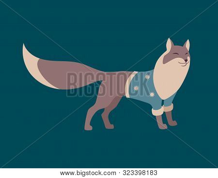 Fox Dressed In Warm Knitted Sweater. Scandinavian Style Vector Wild Forest Animal. Cartoon Retro Cha