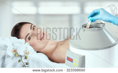 The Blood Tube Is Removed From The Medical Centrifuge For Plasma Lifting. Prp Procedure.