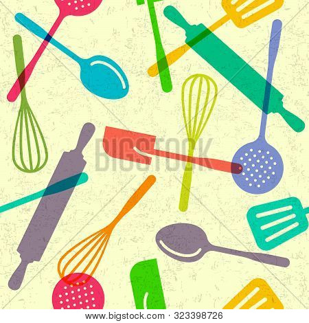 Seamless Pattern For Multi Color Utensils. Kitchen Spatula, Skimmer, Rolling Pin, Spoons, Whisk. Ute
