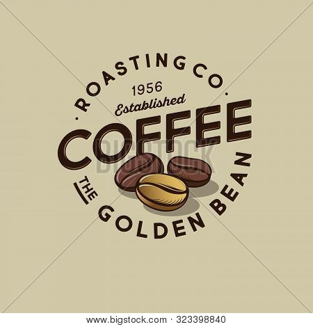 Coffee Logo. Golden Bean Coffee Emblem. Roasted And One Golden Coffee Beans With Letters In A Circle