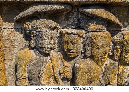 Details of Ancient Buddhist temple of Borobudur, in Magelang, Central Java, Indonesia