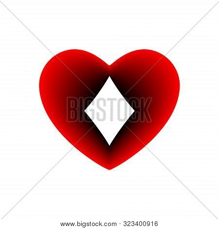 Red Heart Diamonds Suit Icon. A Symbol Of Love. Valentine S Day With Sign Playing Card Suits. Flat S