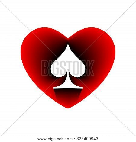 Red Heart Spades Suit Icon. A Symbol Of Love. Valentine S Day With Sign Playing Card Suits. Flat Sty
