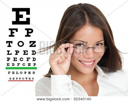 Optician or optometrist wearing glasses standing by Snellen eye exam chart. Female Caucasian / Asian Chinese model isolated on white background