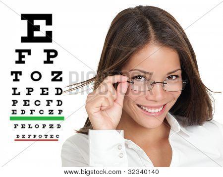 Óptico u optometrista con gafas permanente por tabla de Snellen ojo examen. Mujer caucásica / Asia